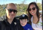 Darren Pedersen with his nine-year-old son KJ and wife Leanne.