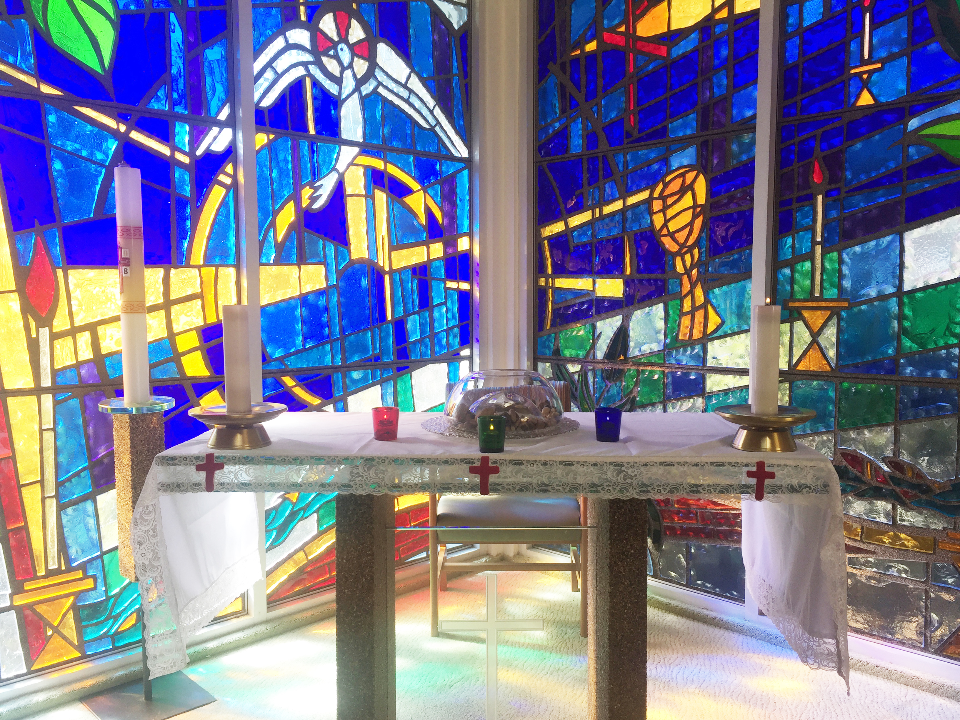 Inside the light-filled chapel at St. Vincent's: Langara. For years, monthly memorial services were held in this room, but they have recently moved to the larger and more accessible dining room.