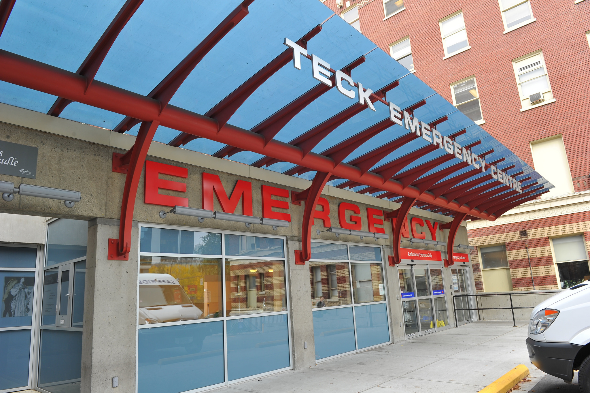 Exterior shot of St. Paul's Hospital Emergency entrance.