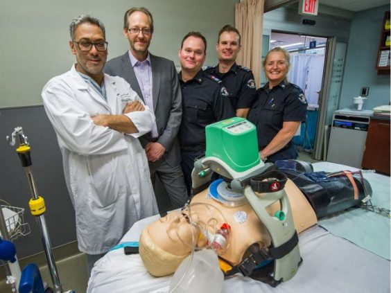 St. Paul's Hospital has received a $1-million gift to buy special equipment that saved the life of a clinically dead man in February. From left to right: Dr. Jamil Bashir, patient Chris Dawkins, paramedics Thomas Watson and Benjamin Johnson, dispatcher Anne-Marie Forrest are pictured at St. Paul's Hospital.