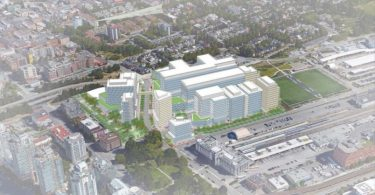 The new St. Paul's hospital and health care campus will be at 1002 Station St and 250-310 Prior St. Rendering IBI Group (Image Credit: Vancouver Courier)