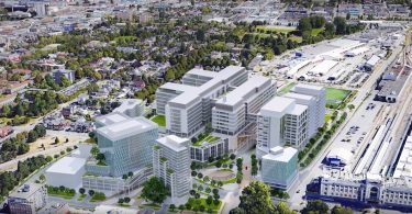 Artistic rendering of the new St. Paul's Hospital and health campus at the False Creek Flats. (IBI Group Architects / Providence Healthcare)