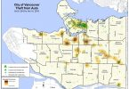 Vancouver Police Department map showing most recent car break-ins in the city (Photo credit: Vancouver Courier)