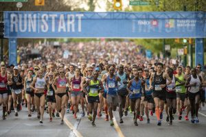 Start line of the 2018 BMO Vancouver Marathon