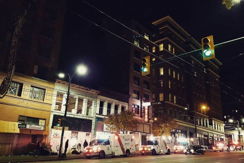 Although the Downtown Eastside often comes to mind when people think of opioid abuse, proper stewardship of opioids in hospital settings can mitigate future harm from both overuse and overzealous restrictions. (Photo credit: The Georgia Straight)