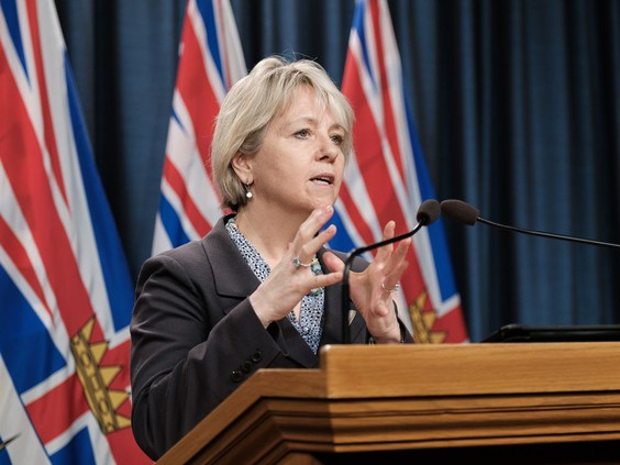 Dr. Bonnie Henry at the podium in this file photo from March 1, 2021. (Photo credit: Vancouver Sun)